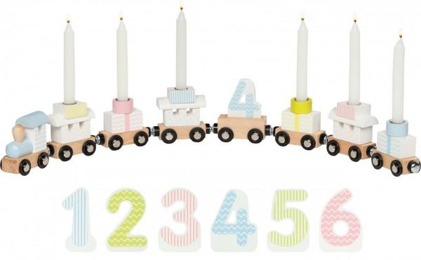 Geburtstagszug mit Zahlen (Weiß-Pastell)