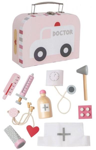 Süßer Doktorkoffer mit Arzt-Utensilien aus Holz (Rosa)