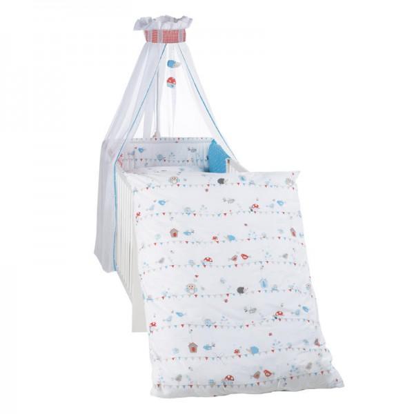 4-tlg. Kinderbettgarnitur Vogeltanz (Weiß-Blau-Rot)