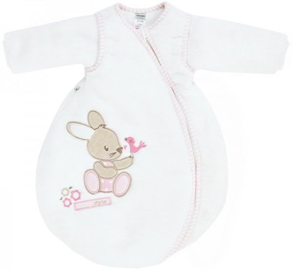 Nicki Winterschlafsack Bunny Gr. 50/56 mit abnehmbaren Ärmeln (Weiß-Rosa)