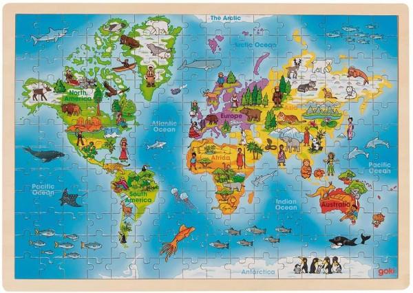 Einlegepuzzle aus Holz Welt (192 teilig)