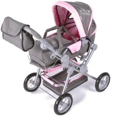 Puppenwagen Twingo Rockstar mit Strasssteinchen (Rosa-Grau)