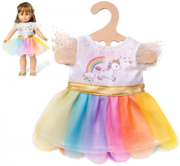 Kleidungsset Tüllkleid Einhorn in Regenbogenfarben Gr. 28 - 35 cm
