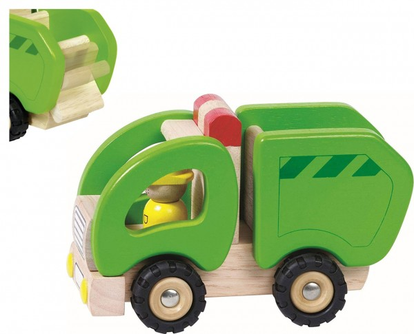 Holzfahrzeug Müllwagen 15 cm (Grün-Natur)