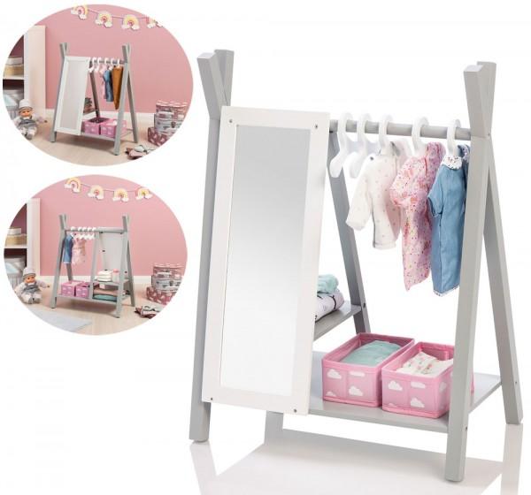 Puppenschrank Barlia mit Spiegel (Grau-Weiß)