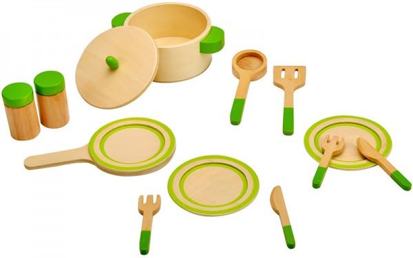 Küchengeschirr aus Holz (Natur-Grün)
