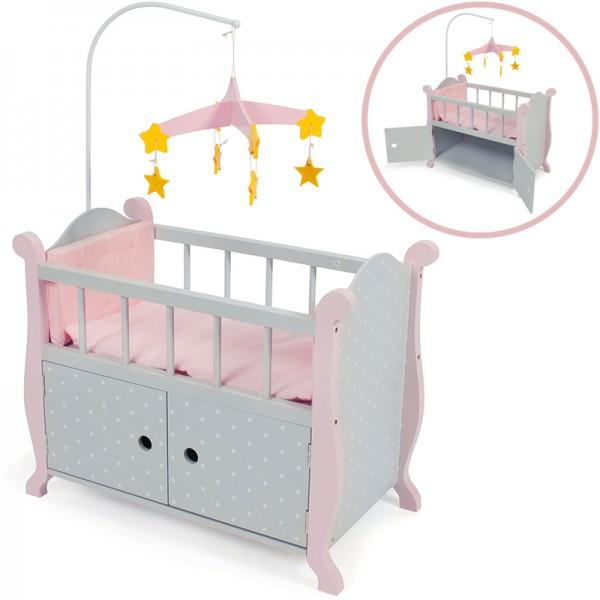 Puppenbett mit Mobile Puntos Grey (Rosa-Grau)
