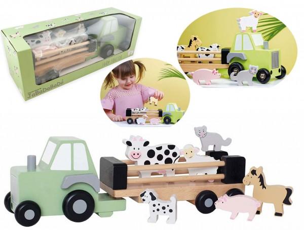 Traktor mit Anhänger und Bauernhof-Tieren (Pastell)