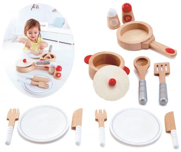 Koch- und Servierset aus Holz für Kinderküche (Natur-Weiß)