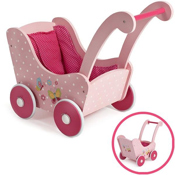 Holzpuppenwagen Papilio Pink (Rosa-Pink)