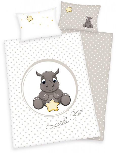 Renforce Kinder-Bettwäsche Jana Little Star 100 x 135 cm (Weiß-Grau)