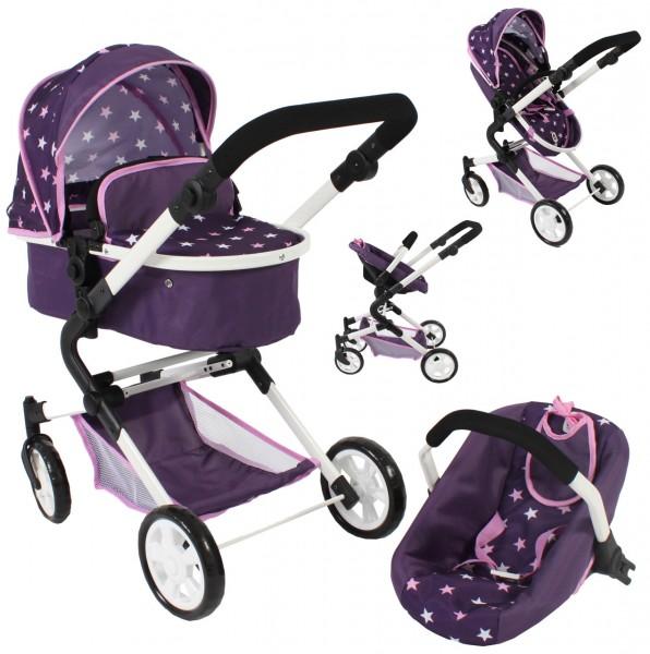 Puppenwagen Lia Kombiwagen 3in1 mit Autositz (Stars Lila)