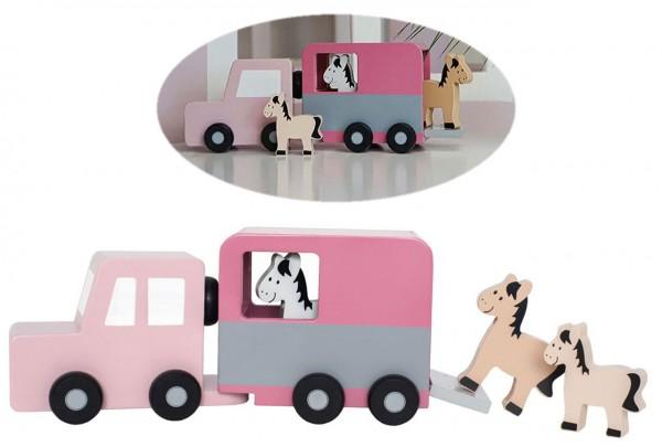 Auto mit Pferdeanhänger und Pferden aus Holz (Rosa-Pink)