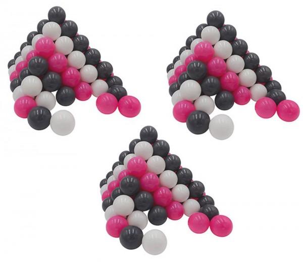 300 Spielbälle im Netz (Pink-Weiß-Grau)