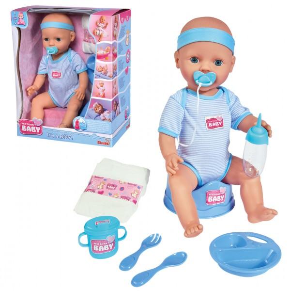 New Born Baby Puppe Junge mit Funktionen und Schlafaugen 43 cm (Blau)