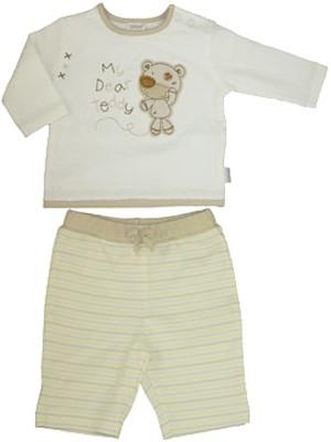 Langarmshirt mit Hose Teddy Gr. 62 (Creme-Beige)