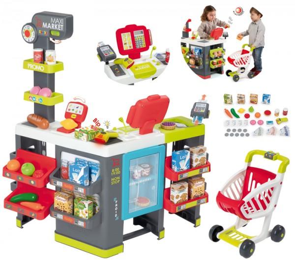 Großer Supermarkt Maximarket XXL mit Einkaufswagen (Rot)