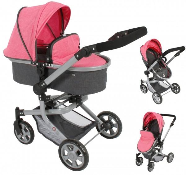 Puppenwagen Mika 2in1 (Melange Anthrazit-Pink)