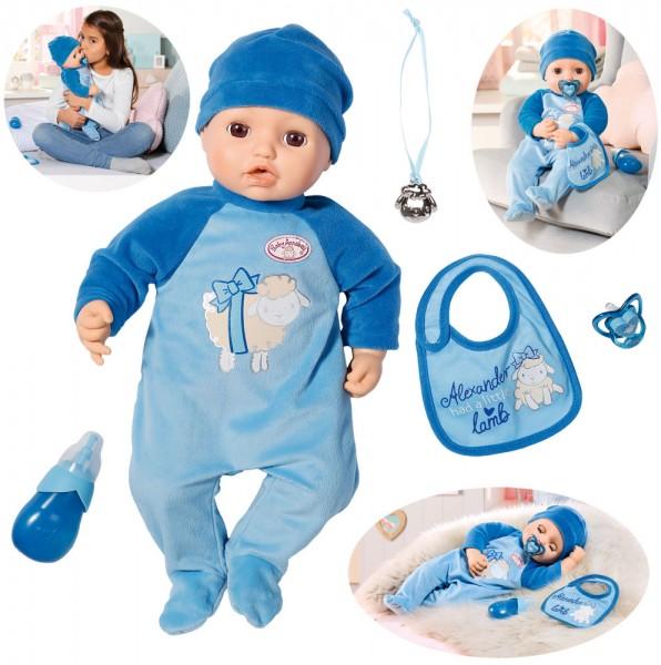 Baby Annabell Alexander Puppe 43 cm mit Funktionen und Zubehör (Blau)