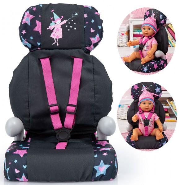 Puppen-Autositz Deluxe Sterne (Schwarz-Pink)