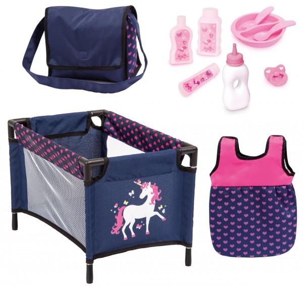Puppenzubehör Set mit Reisebett, Schlafsack und Accessoires (Blau-Pink)