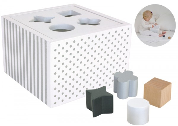 Sortierbox aus Holz (Weiß-Grau)