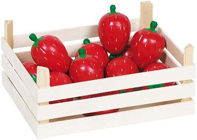 Holzkiste mit Erdbeeren