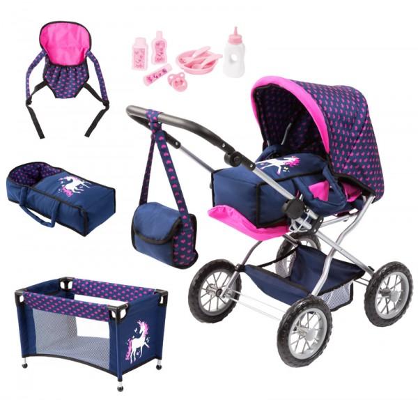 Kombi-Puppenwagen Grande Einhorn mit Zubehör (Marine-Pink)
