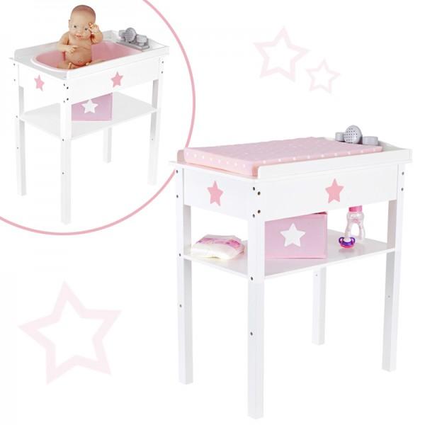 Puppenwickeltisch Bade- & Wickelkombi 2in1 Sternchen aus Holz (Weiß-Rosa)
