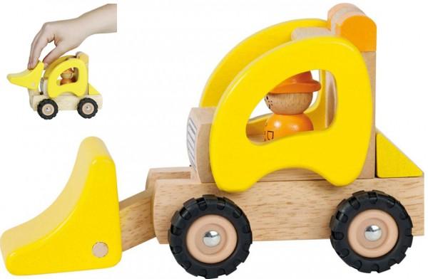 Holzfahrzeug Radlader 20 cm (Gelb-Natur)