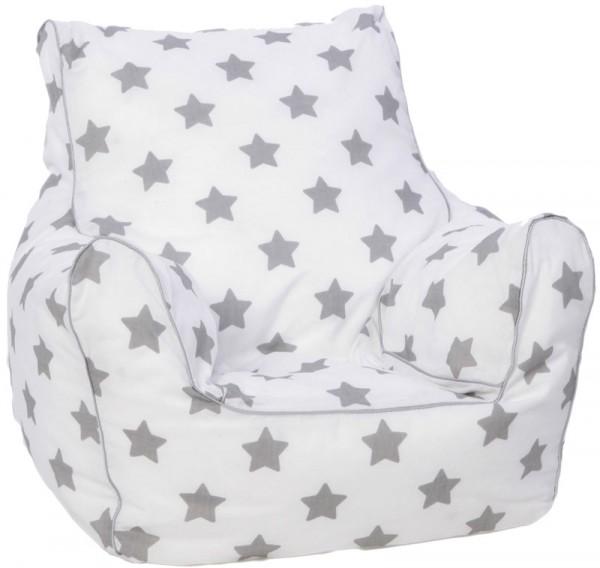 Kindersitzsack Stars Grey Sterne (Weiß-Grau)