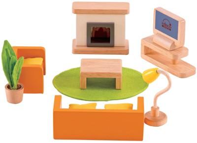 Puppenhaus Modernes Wohnzimmer (Natur-Orange)