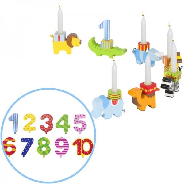 Geburtstagstierparade mit Zahlen