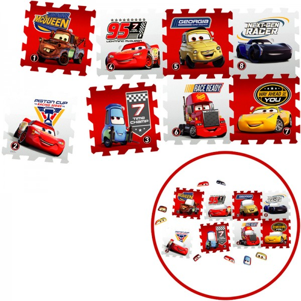 Disney Cars EVA Schaumstoff Puzzlematten 8-tlg. (Rot-Grau)
