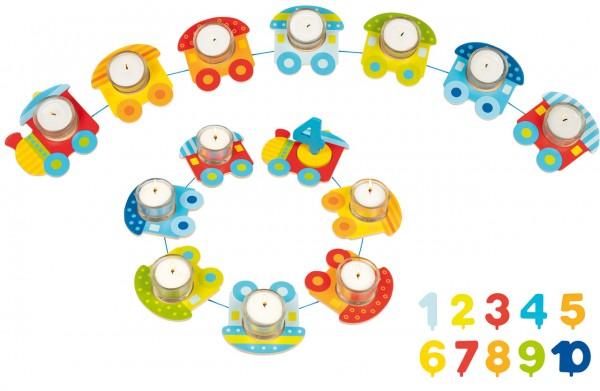 Geburtstagszug mit Glasteelichthaltern und Zahlen (Bunt)
