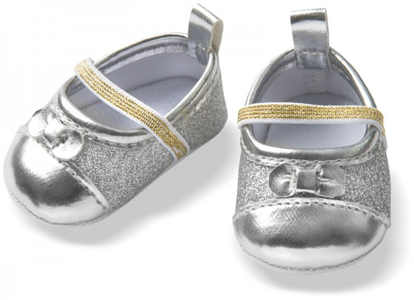 Puppenschuhe Glitzer-Ballerinas Gr. 38 - 45 cm (Silber)
