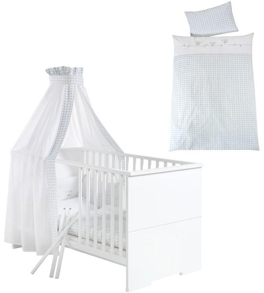 Bettset Kinderbettwäsche mit Nestchen und Himmel Lovely Birds (Weiß-Mint)