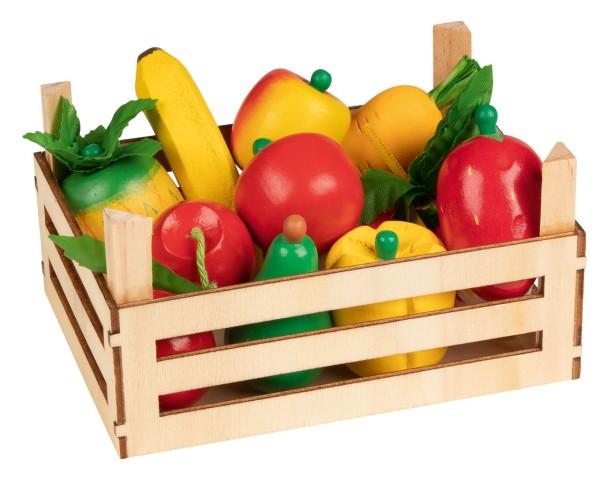 Holzkiste mit Obst & Gemüse