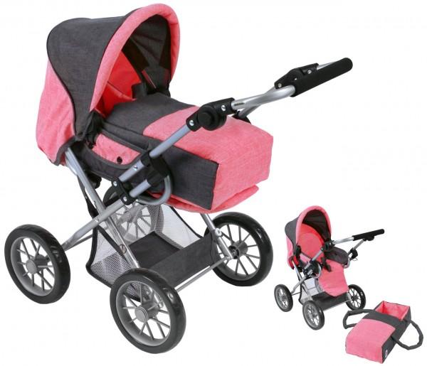 Puppenwagen Leni (Melange Anthrazit-Pink)