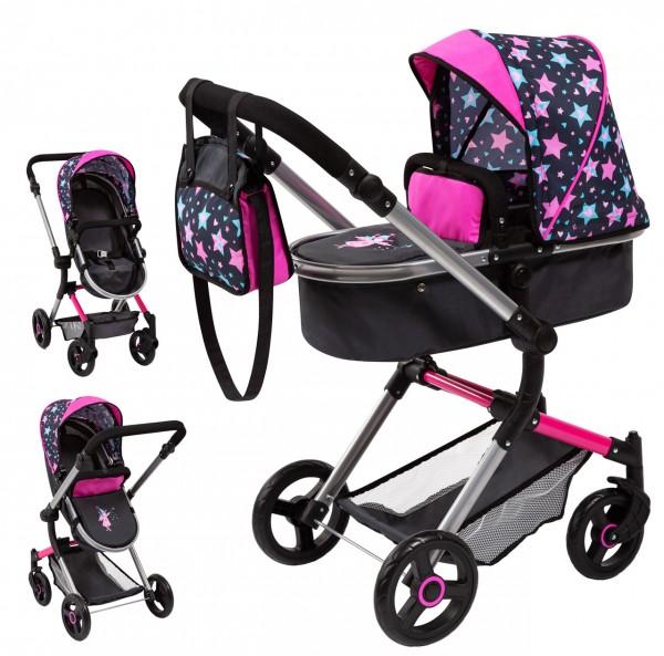 Puppenwagen Vario 2in1 mit Wickeltasche Sterne (Schwarz-Pink)