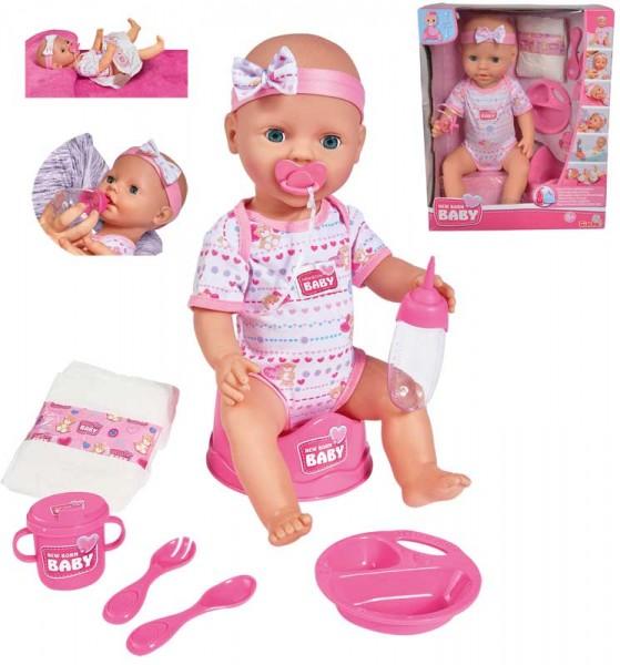 New Born Baby Puppe mit Funktionen und Schlafaugen 43 cm (Pink)