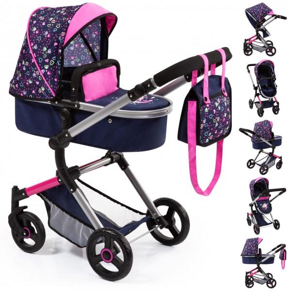 Puppenwagen Vario 2in1 mit Wickeltasche Herzchen (Blau-Pink)