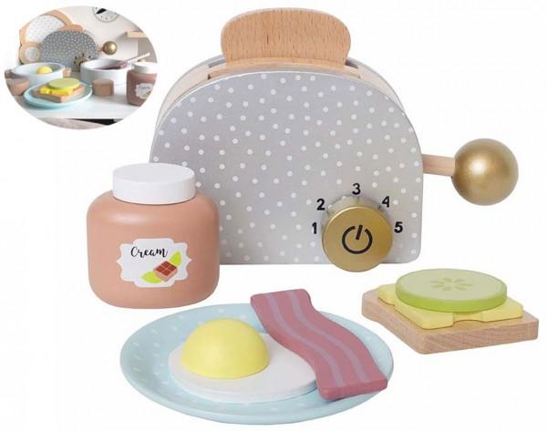 Frühstücks-Set mit Toaster aus Holz für Kinderküche (Pastell)