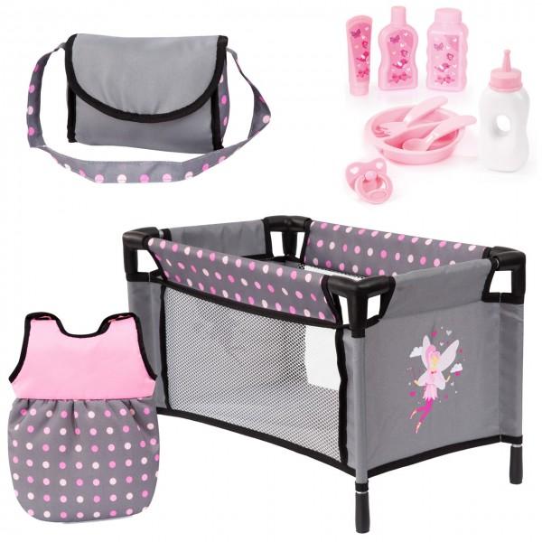 Puppenzubehör Set mit Reisebett, Schlafsack und Accessoires (Grau-Rosa)