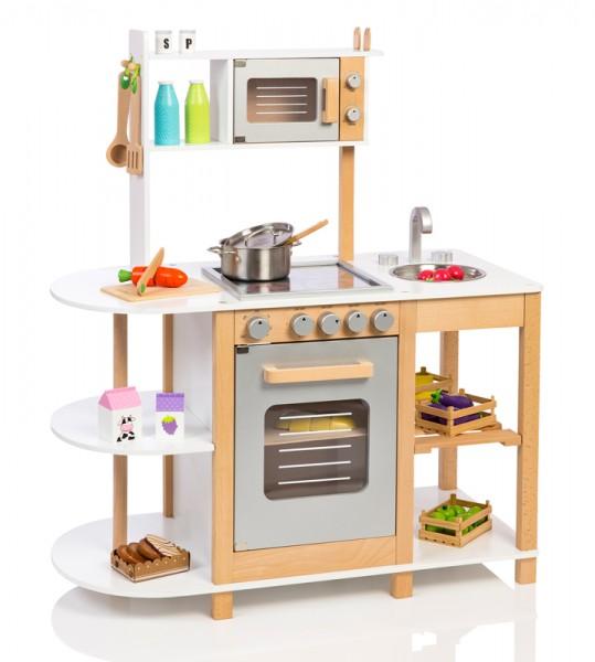 Kinderküche aus Holz (Weiß-Silber)