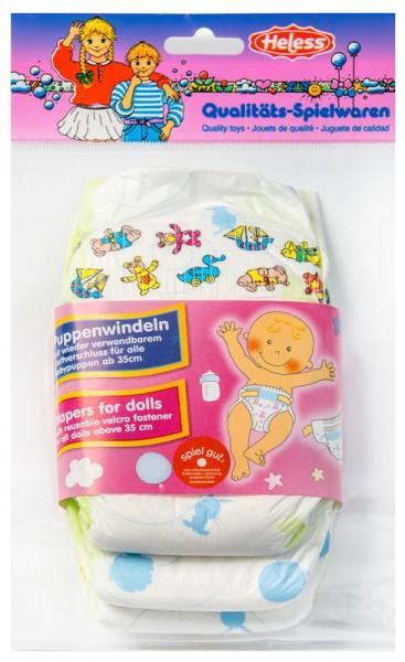 3er Windelpaket für Puppen 35 - 50 cm