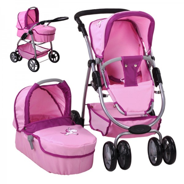 Puppenwagen Coco 2in1 Uma das Einhorn (Rosa)