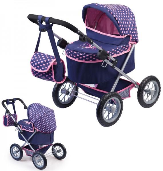Mein erster Puppenwagen Trendy Herzchen (Blau-Pink)