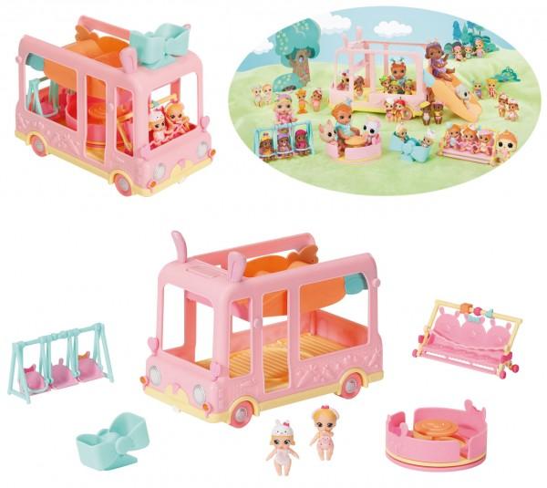 Baby Born Surprise Mini Babies Bus mit Spielplatz 6in1 (Rosa)
