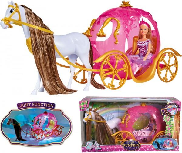 Steffi Love Kürbiskutsche mit Pferd und Lichtfunktion
